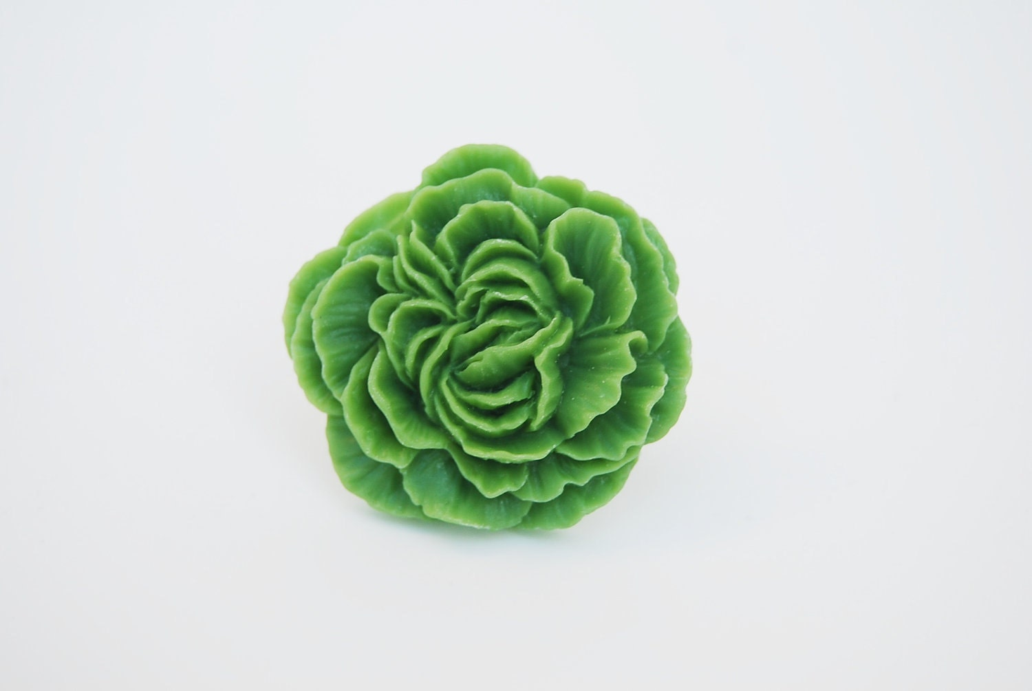 Resin Flower Ring, Apple Green Peony Flower Ring, Adjustable Ring