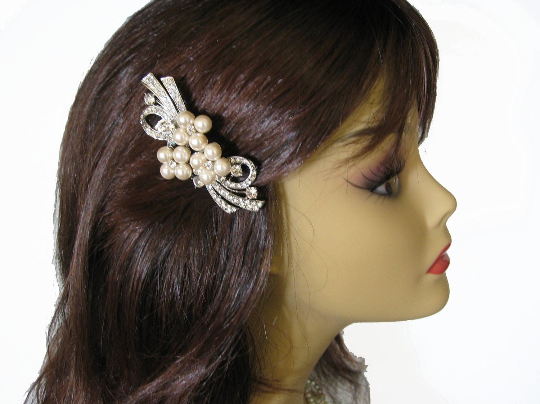 Bridal hair comb - Rhinestone Bridal Hair Comb /  Bridal , Weddings, Jewelry, Sterling Silver, Rinestone, Crystal - Innes