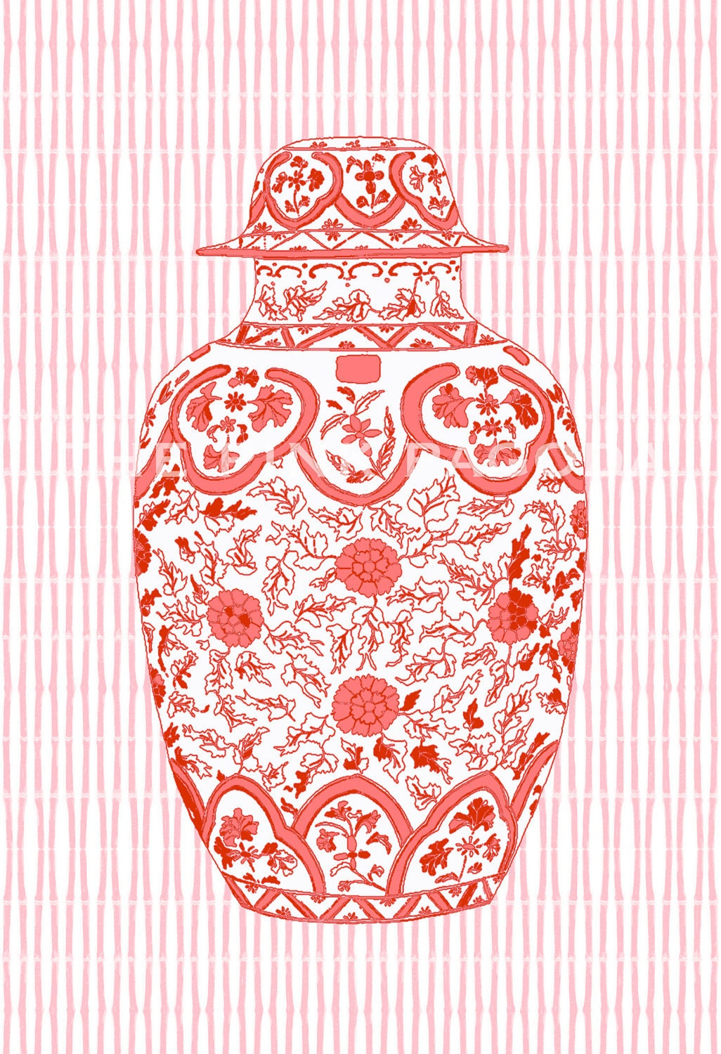 Coral Ming Chinoiserie Ginger Jar on Bamboo Stripe 13x19 Giclee