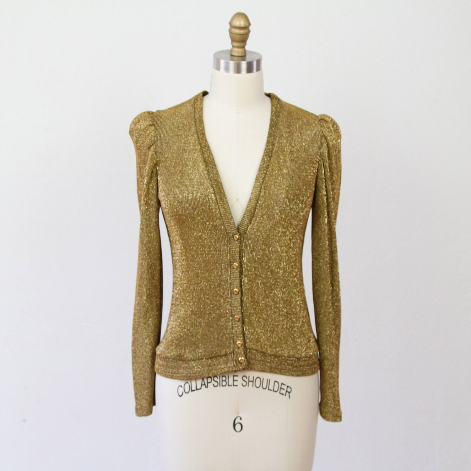Metallic Gold Sparkle Holiday Cardigan Sweater S By Salvagelife