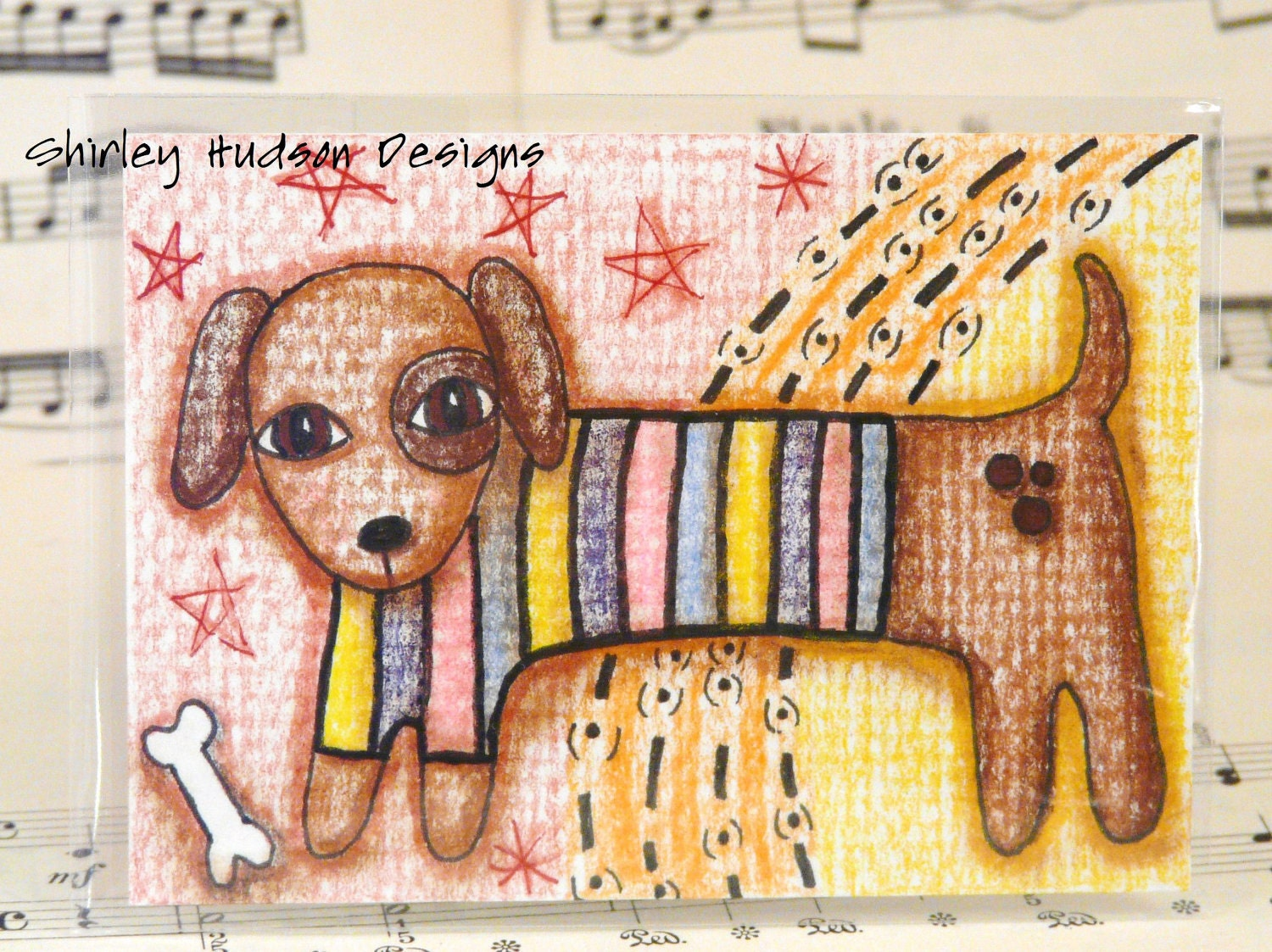 Rainbow Puppy dog Original ATC card - ACEO weiner dachshund ink pencils colored