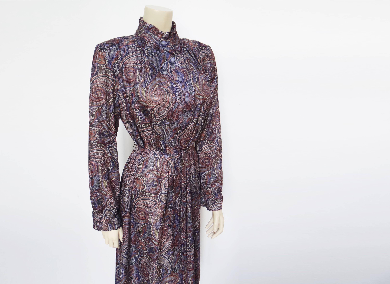 Boho Dress Vintage Dress 1960s Curvy Girl Dress Boho Vintage Clothing Paisley Dress Hippie Designer