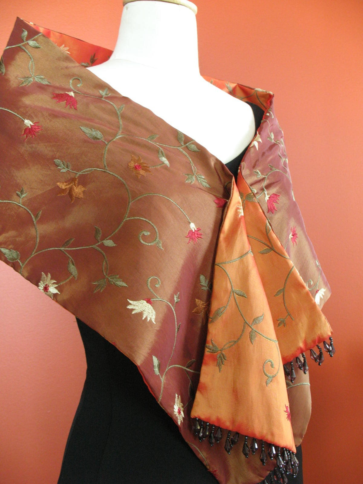 Tibet reversible embroidered taffetta scarf : Asian iCandy Store, Unique Asian Arts and Gifts From Independent Artists :  indie tibet asian asian-inspired