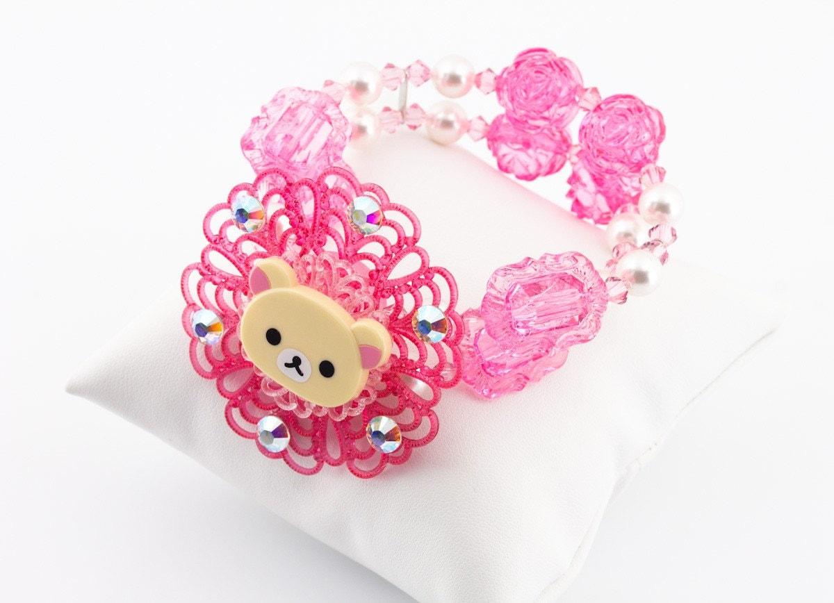 Korilakkuma Pink Lucite and Swarovski Crystal Double stranded bracelet Japanese Harajuku Street Fashion