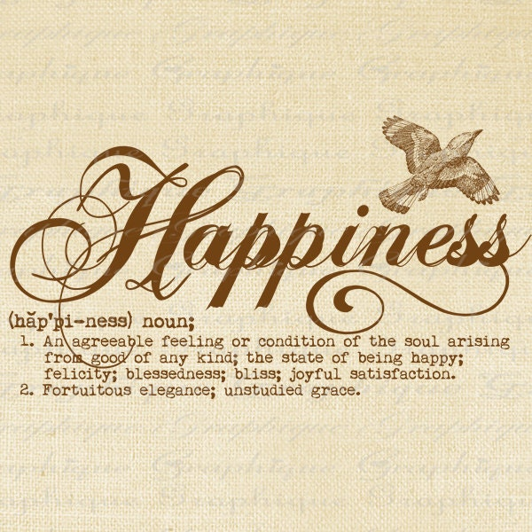 Items Similar To Definition Happiness Word Typography