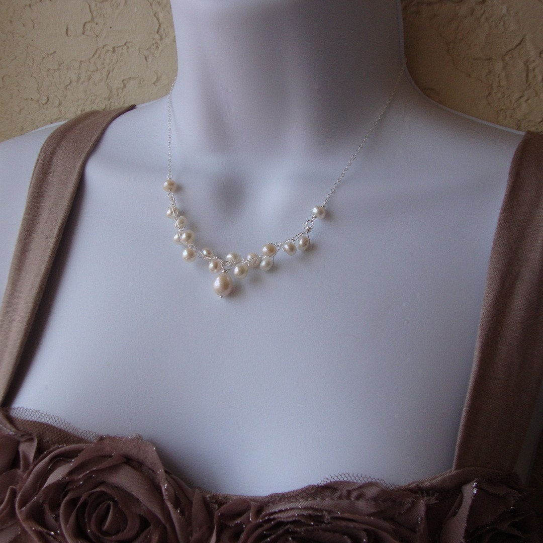 Crochet wire and pearl Necklace sterling silver chain and clasp Bridal jewelry Glamour and Glitz