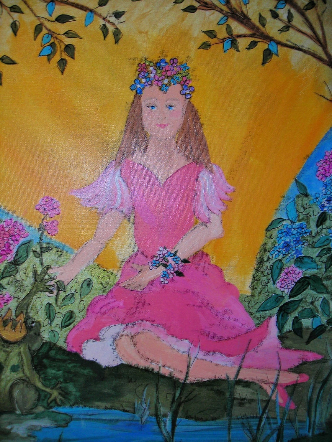 Princess Wall Art OOAK Original Acrylic Painting Children's painting 20x16 of The Princess and the Frog
