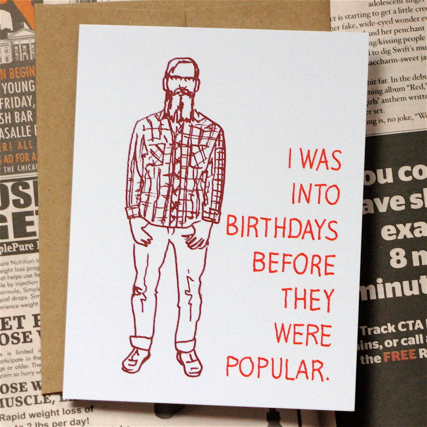 Before Hipster Birthday Card By Lafamiliagreen On Etsy