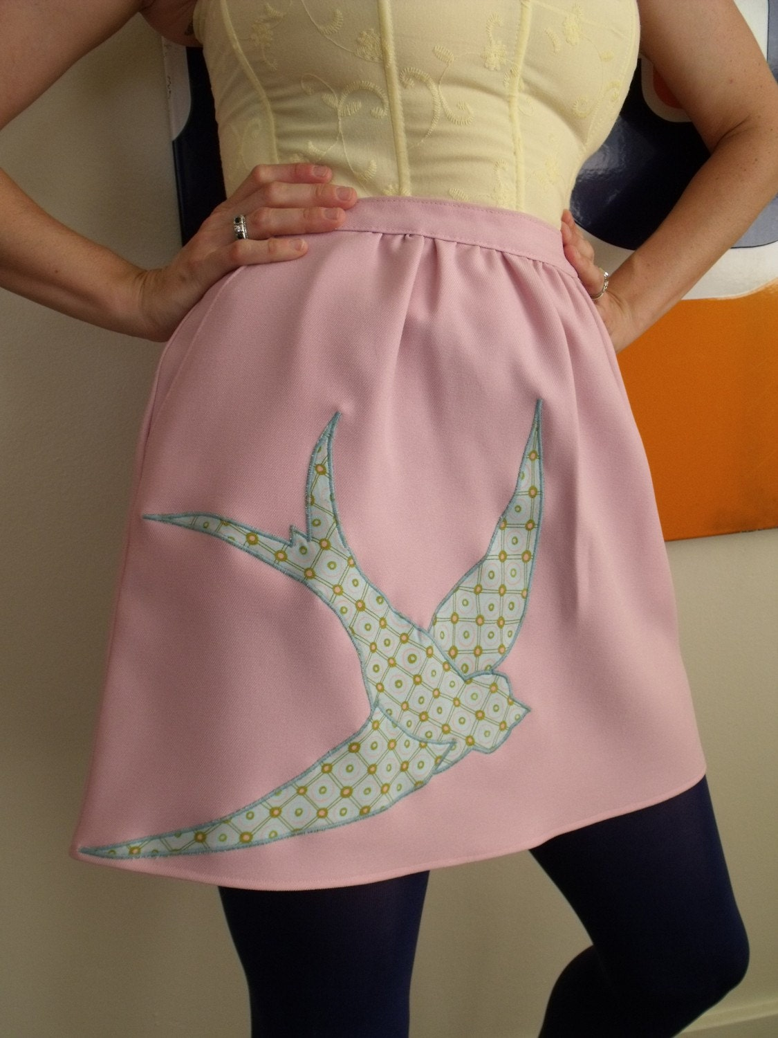 Vintage 1970's Skirt, Sparrow Applique, Pink, Medium
