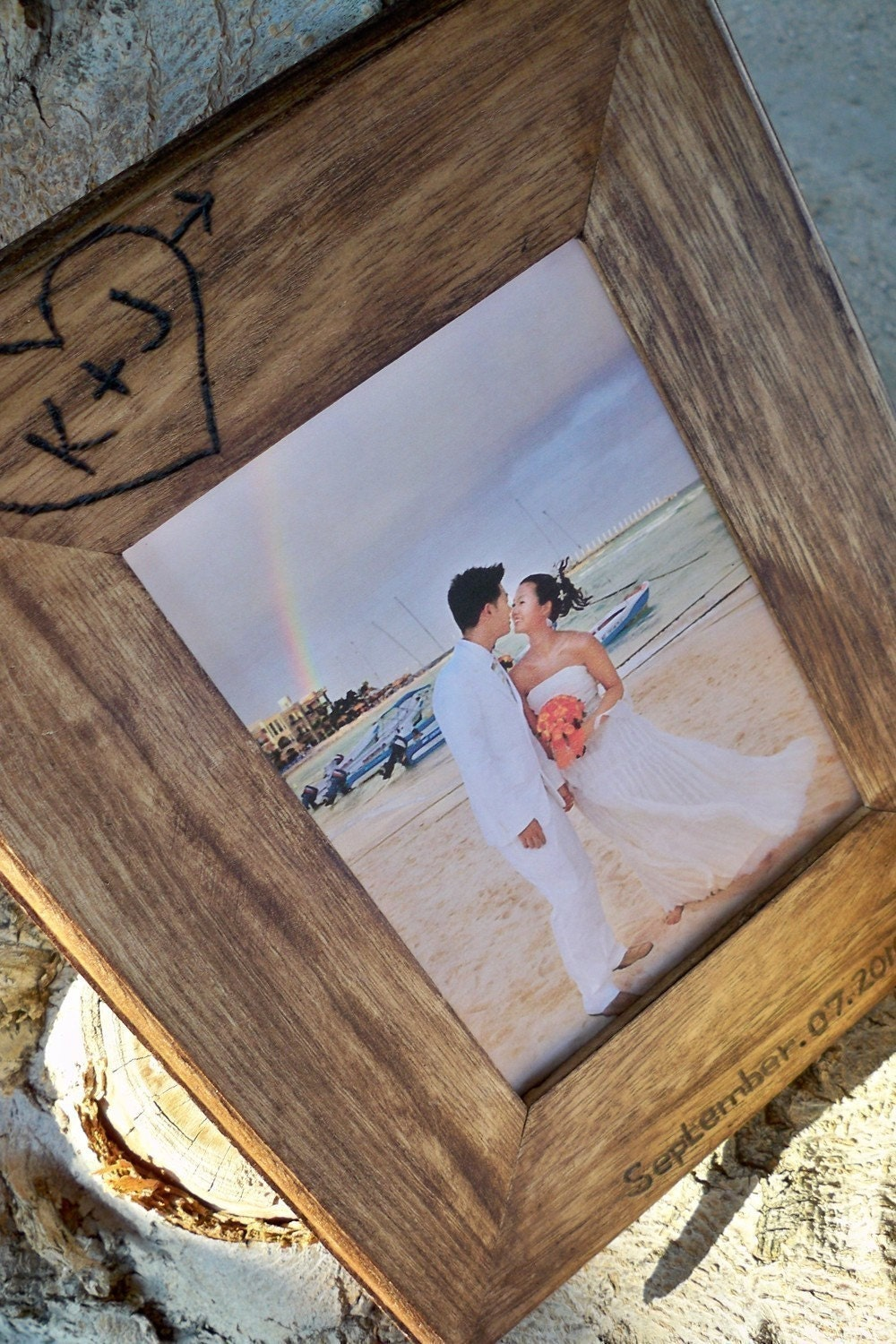 Personalized, Custom Rustic wood 5X7  picture frame, love tree carving Christmas gift for husband or wife