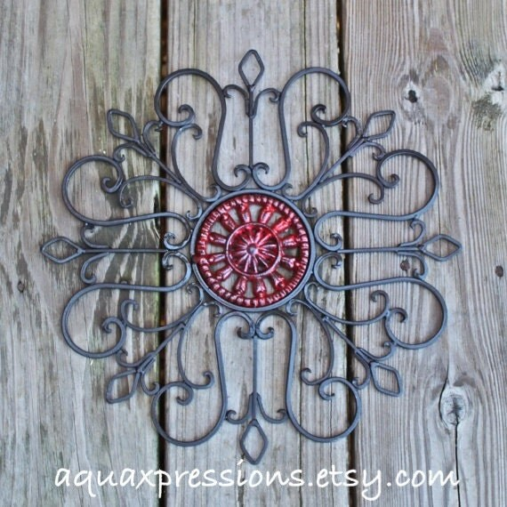 Distressed Metal Wall Decor : Metal wall decor red distressed patio by