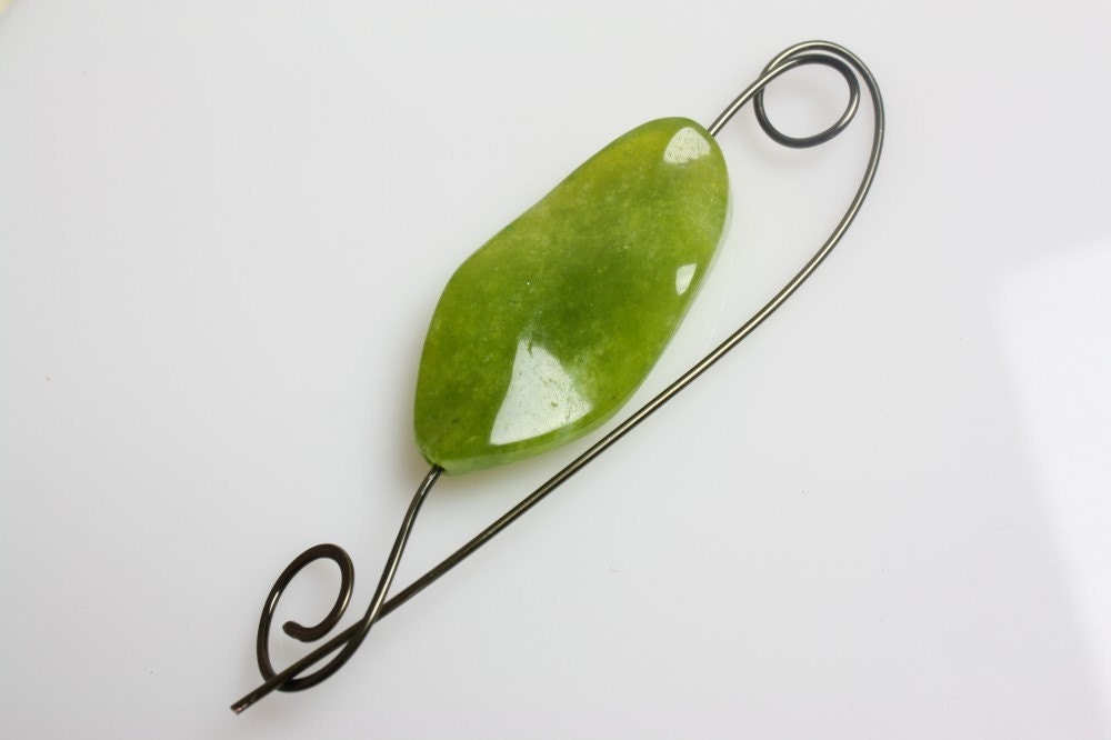 Olive Beaded Shawl Pin
