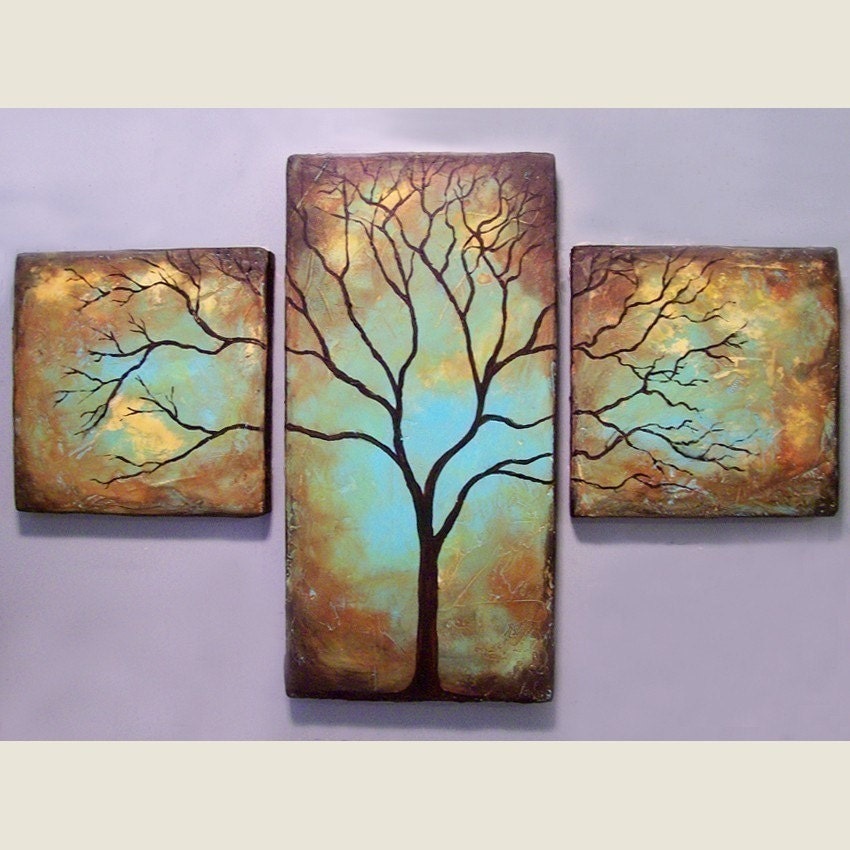Custom Tree Triptych - Sculpted Paintings