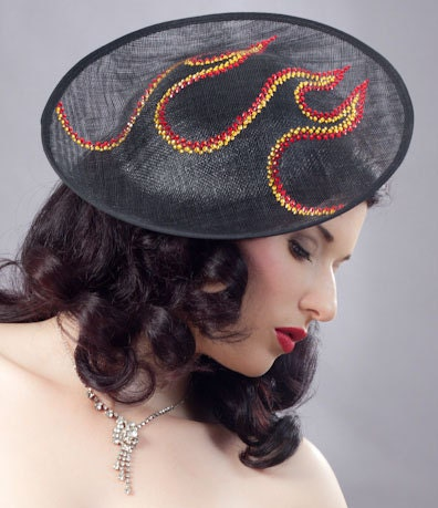 Millinery headpeace, Up In Flames Hot Rod Hat.