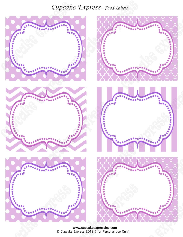 ... Princess Birthday Party PRINTABLE Food Labels crown lavender purple