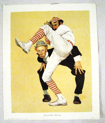 Vintage 1972 Norman Rockwell Low and Inside Baseball Print - unbelievablefinds