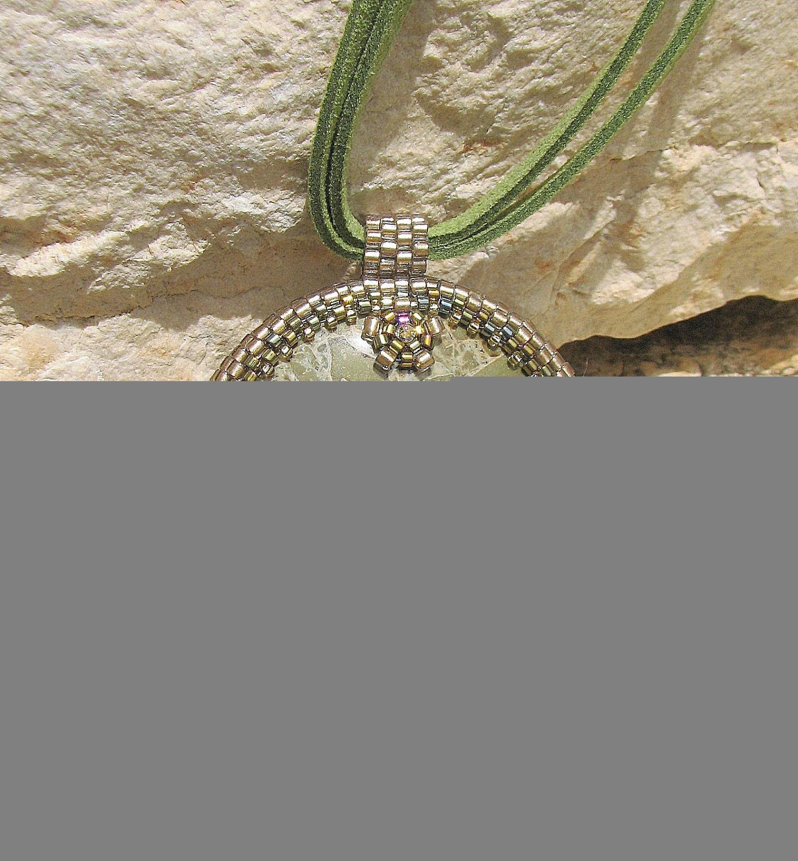 Byzantium Mosaic. Green Jasper Beaded Cabochon Pendant