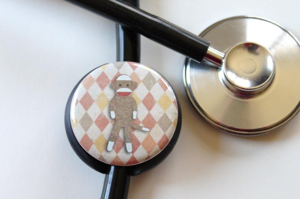 Sock Monkey----Stethoscope ID Tag