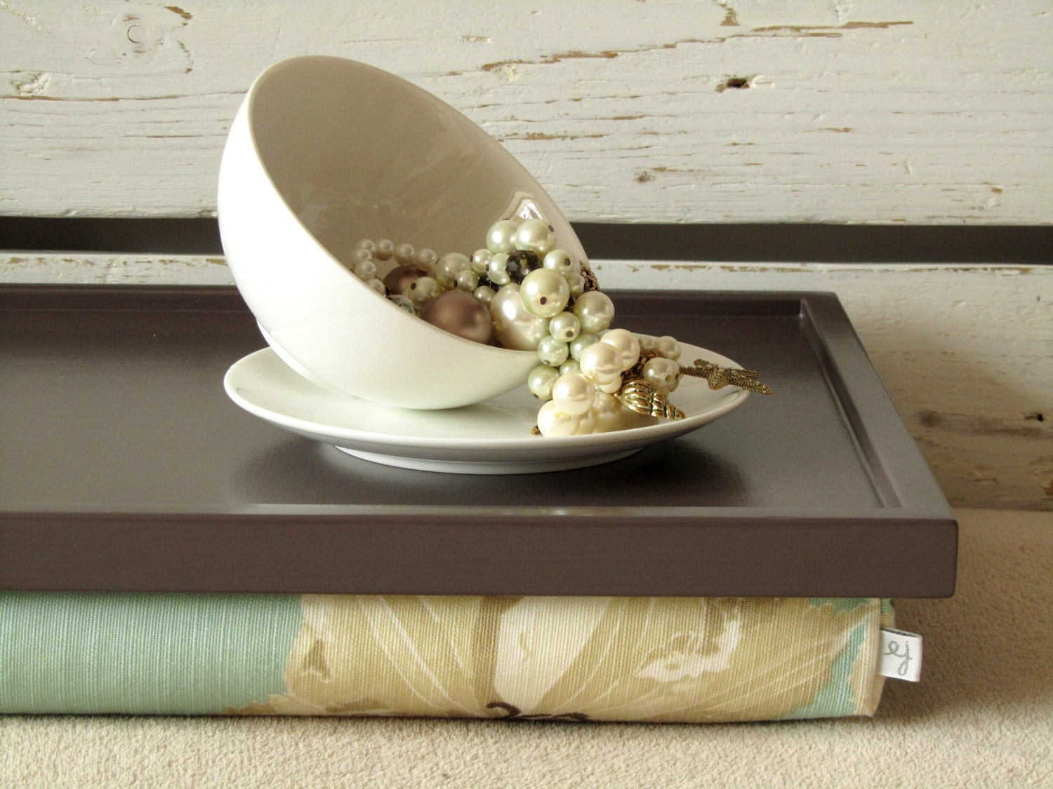 Laptop Lap Desk or Breakfast Serving Pillow Tray- Table - Brown with Sky Blue Floral- Custom Order