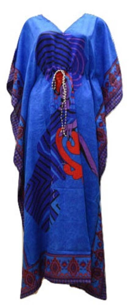 Plus Size Summer Paisley African Lady Print Drawstring Batwing Sleeve Kaftan Blue