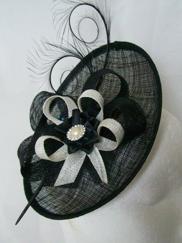 Black and Ivory Upback Saucer Sinamay Loop Curl Feather  Pearl Fascinator Hat Made to Order  Royal Ascot Derby