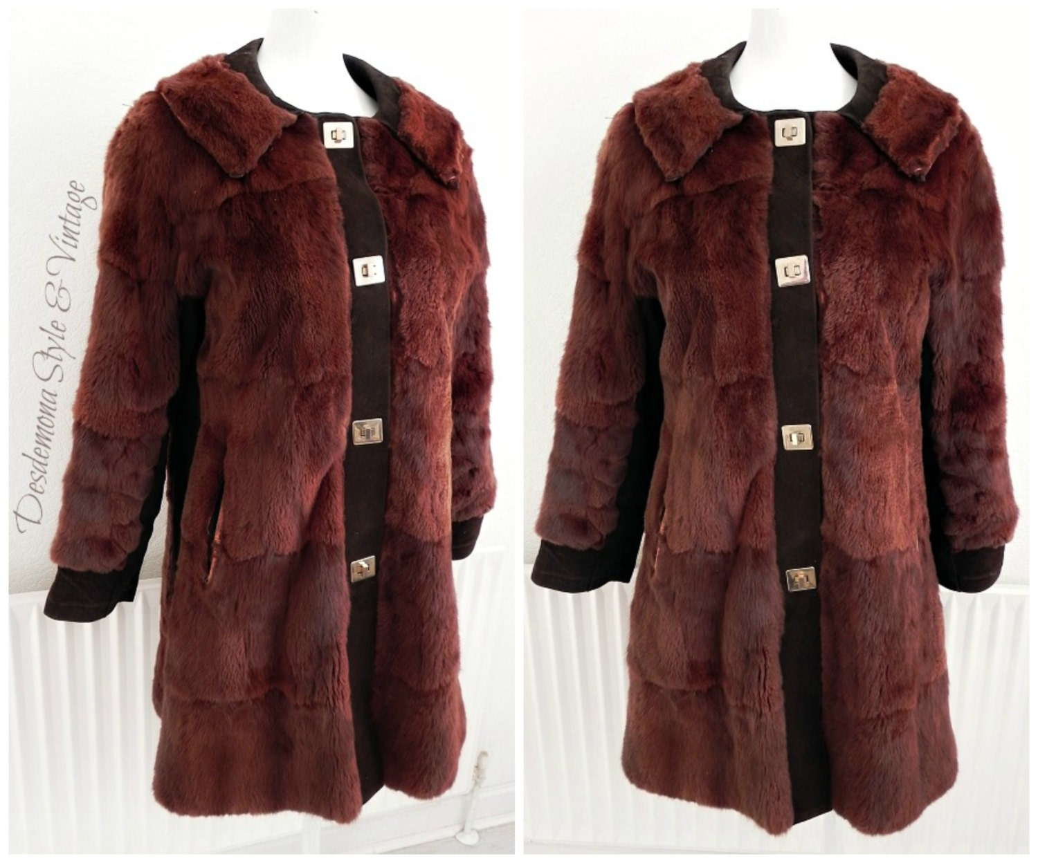 Vintage genuine 1960s 1970s fur coat with collar twist clasps MOD real sixties spage age suede TV Film Stage costume winter modernist