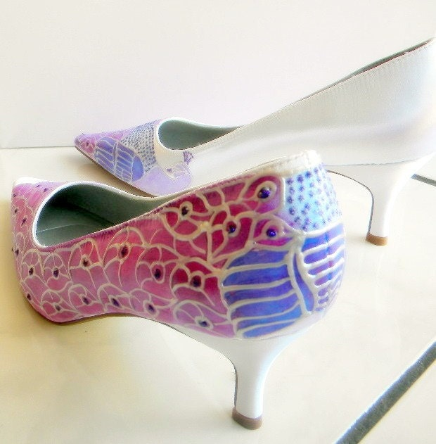 Wedding Shoes,bridal painted albino peacocks PURPLE FEATHER