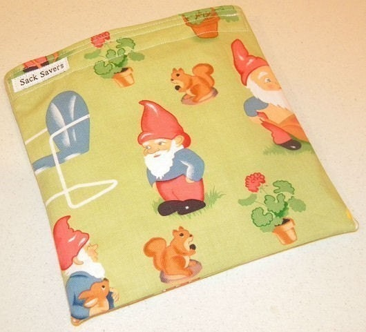 Green Lawn Art Gnome Eco Friendly Reusable Sandwich Bag