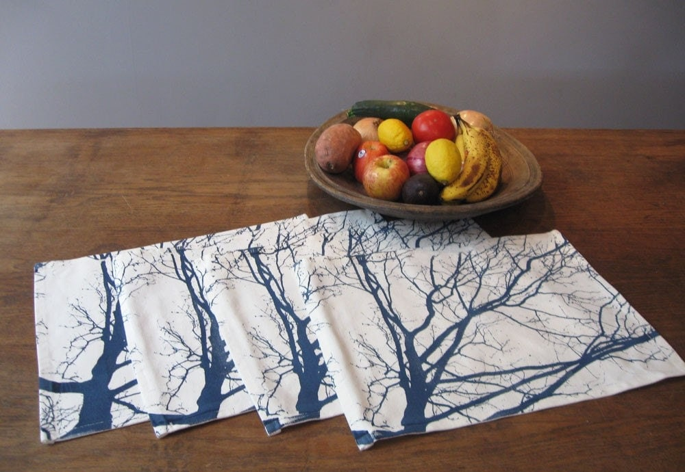 Autumn Morning Placemats in Navy, Set of 2