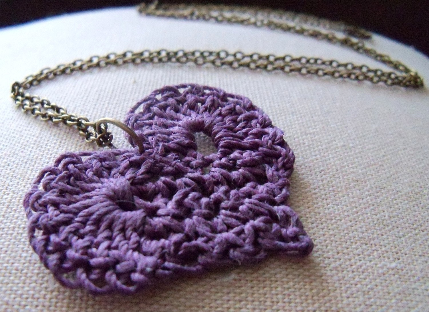 i heart you crochet necklace - purple