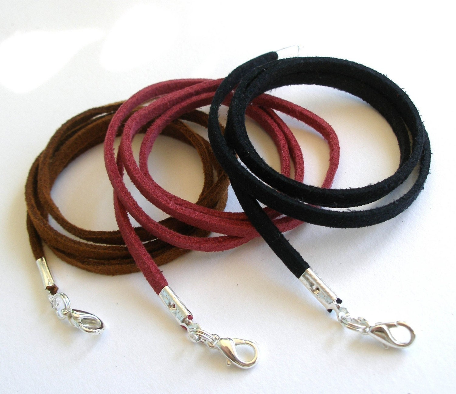 100 - Faux Suede Cord Necklaces - Any Length, 5 Colors - Use w/Aanraku Bails Scrabble/Glass tile Pendants - Handmade in USA