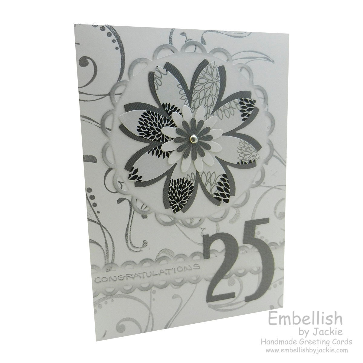 To 25th Anniversary Card Silver Flower 25th Wedding Anniversary