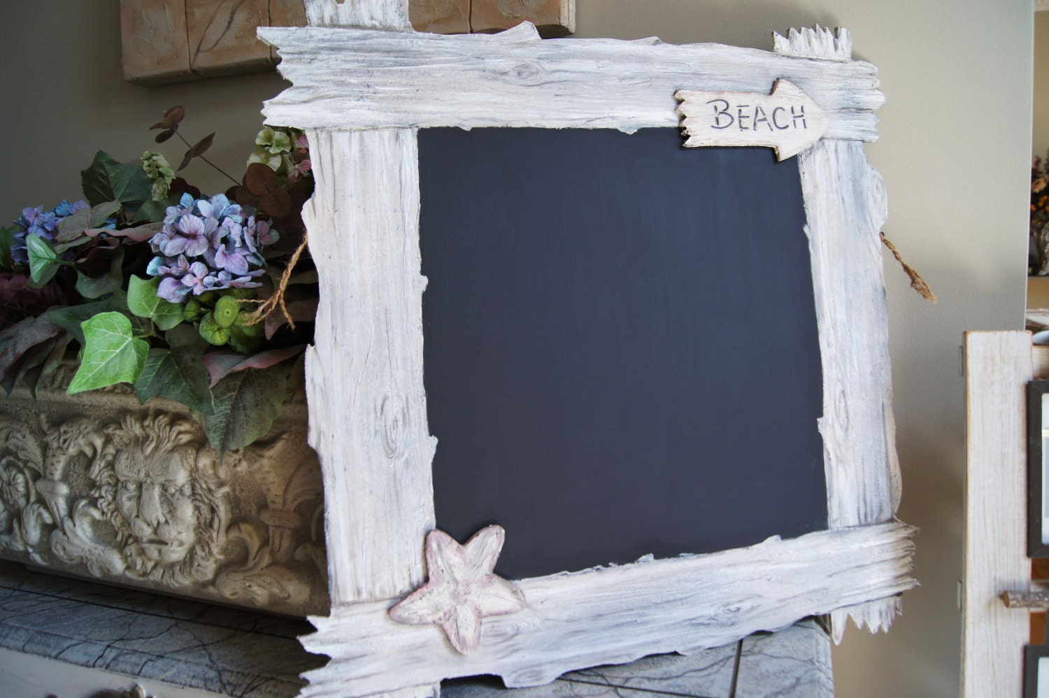To The Beach - Faux Driftwood Kitchen Chalkboard - Cottage Beach Shabby