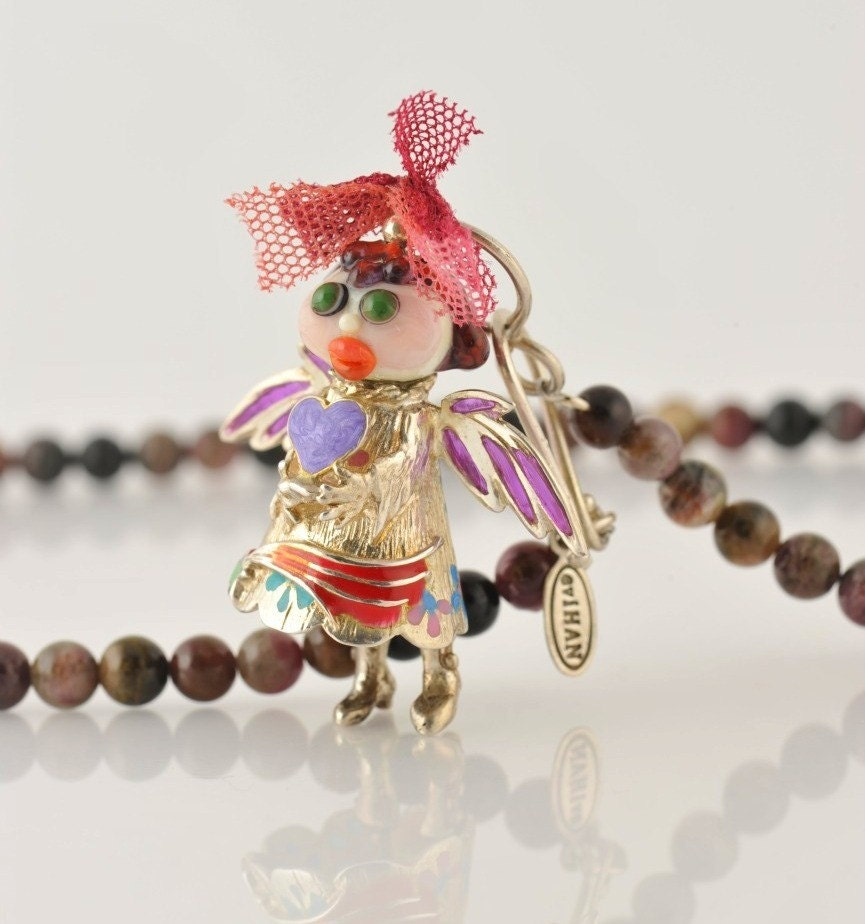 Enamel Silver Lampwork Sofiel Angel Necklace with Heart