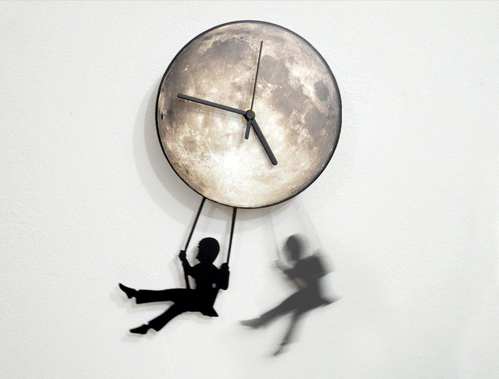 Swinger Girl Full Moon - Pendulum Wall Clock - ObjectIndustrialArt