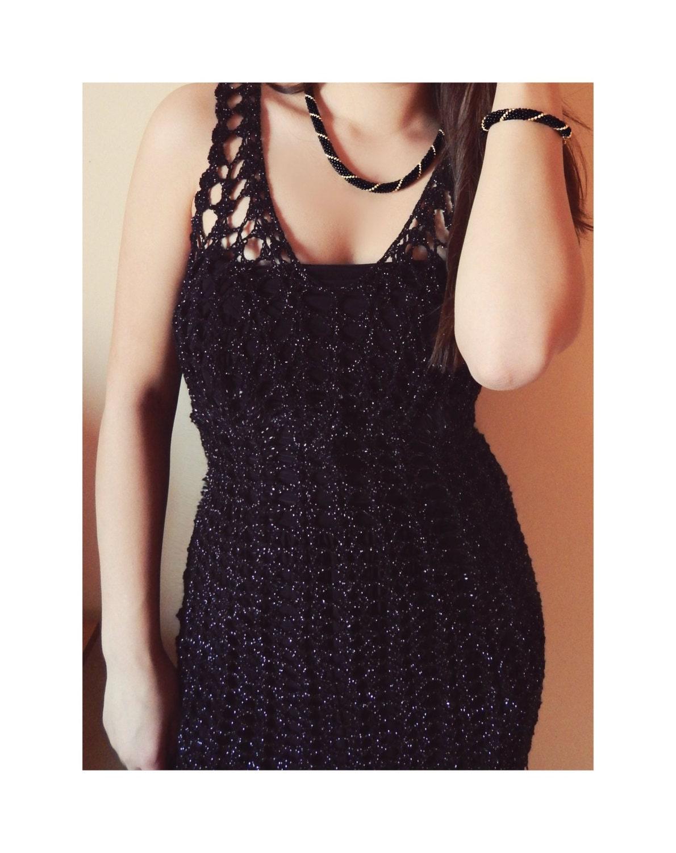 Cairo Night hand crochet black silver lace ellegant exclusive feminine midi dress - MyLaceSpace
