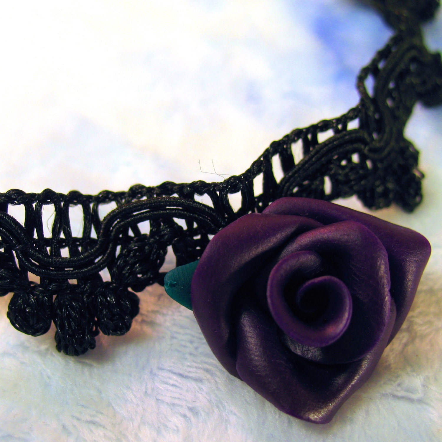 Dark Purple Rose on Black Lace Trim Choker
