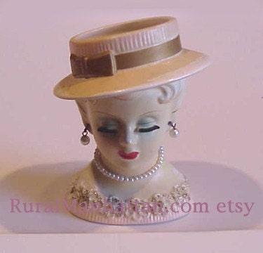 50s Vintage Lady Head Vase