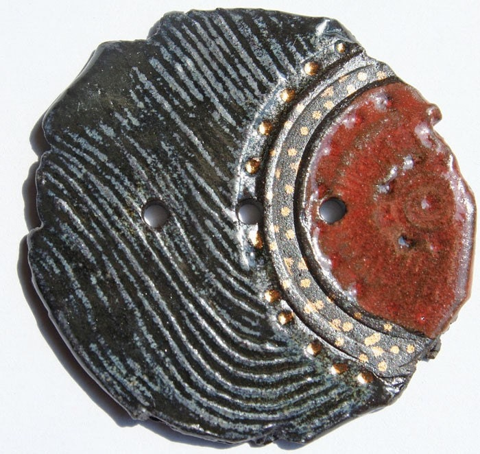 BIG Stoneware Button in Black Gold and Red