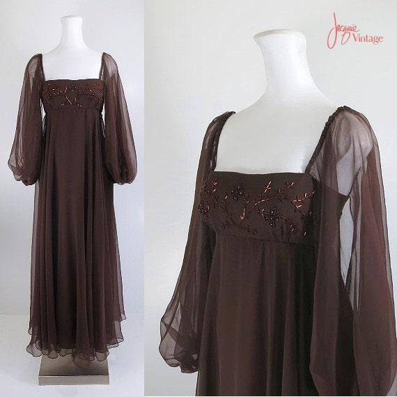 60s 70s Evening Dress Brown Chiffon Gown By Jacquievintage