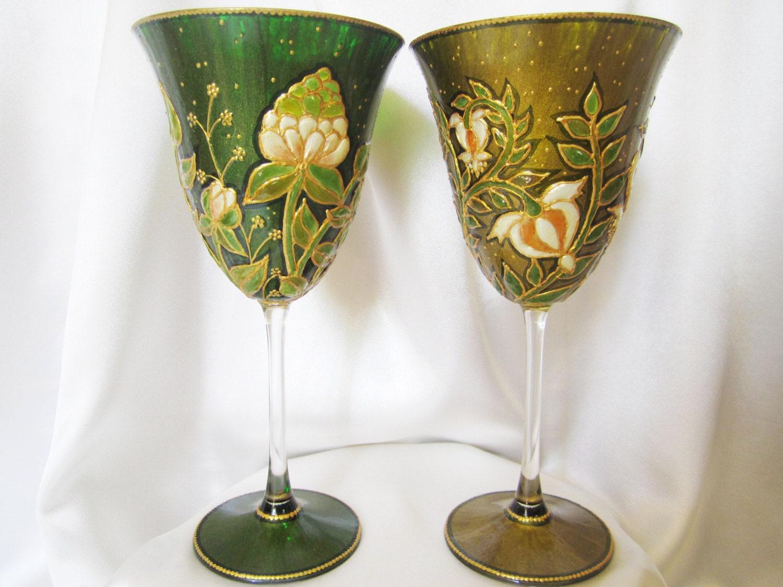 Green Harmony Wild Flowers Hand Painted Crystal Wine Glesses OOAK Green Wedding Theme Personalised Wedding Gift Art on Glass Olivine Emerald