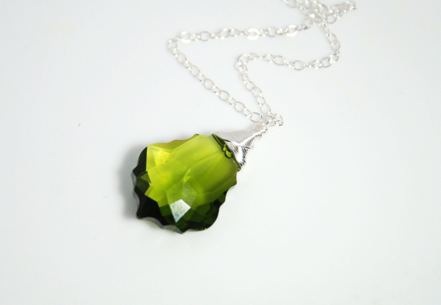 Large Swarovski Baroque pendant necklace in olivine color and sterling silver