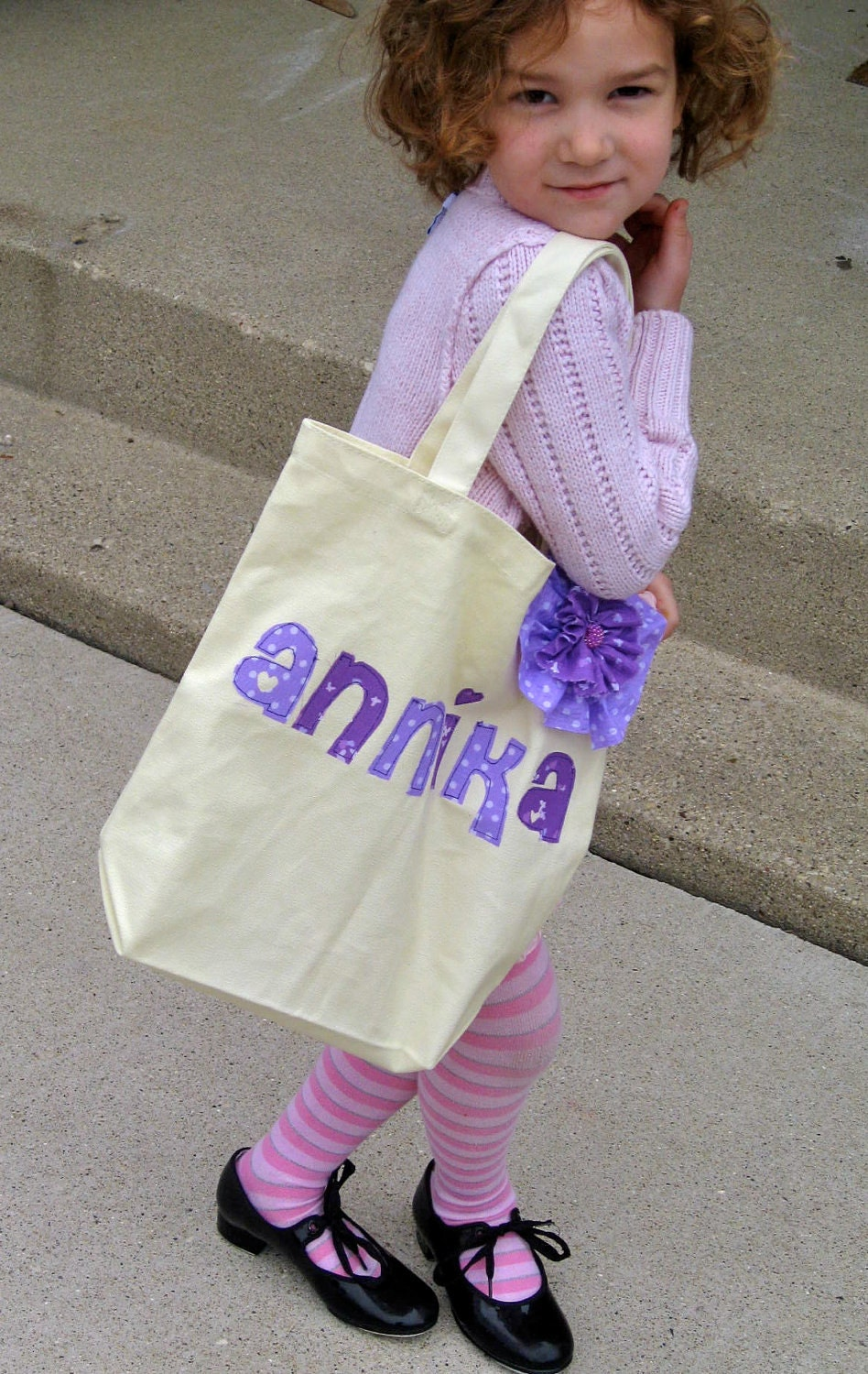 Custom Girl Tote with Flower Pin