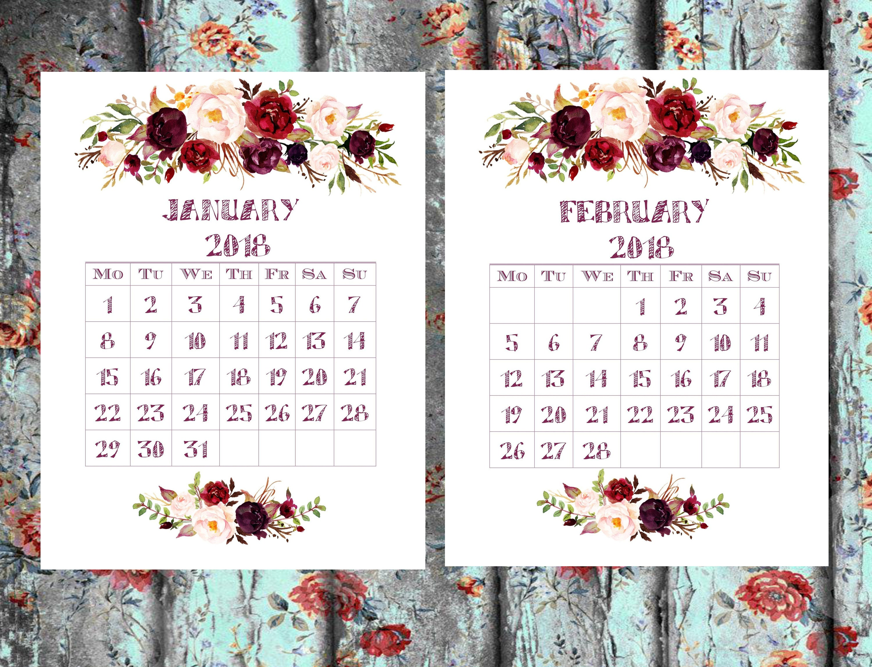 Printable Calendar 2018 a5 calendat insert Floral Calendar