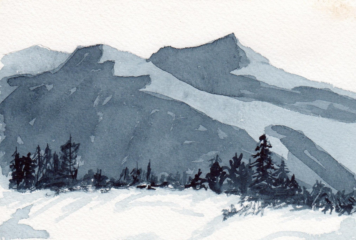 Mountain Peaks - Watercolor painting