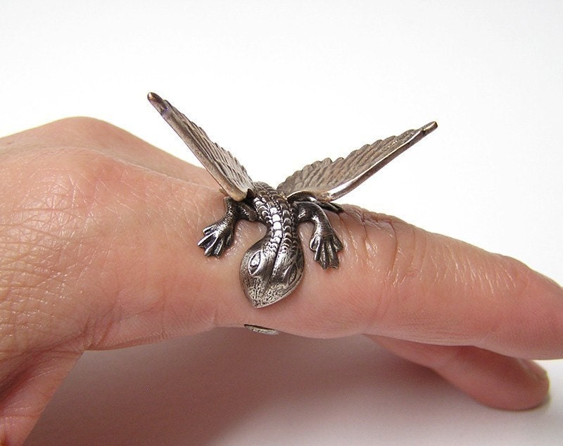 Steampunk Dragon Ring, dragon body wrap around finger (sw)