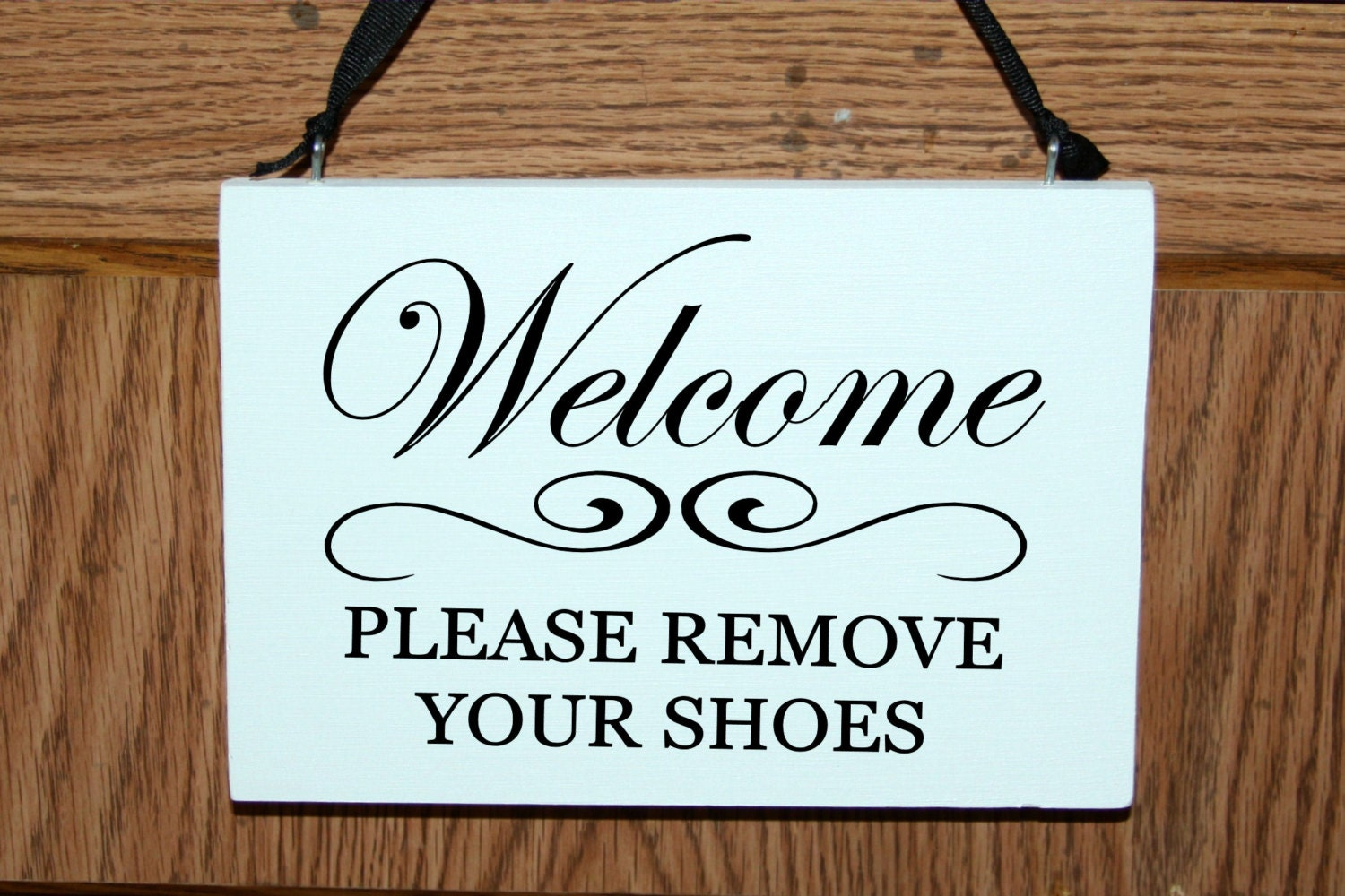 Welcome Please Remove Your Shoes Wood Sign Door Hanger By