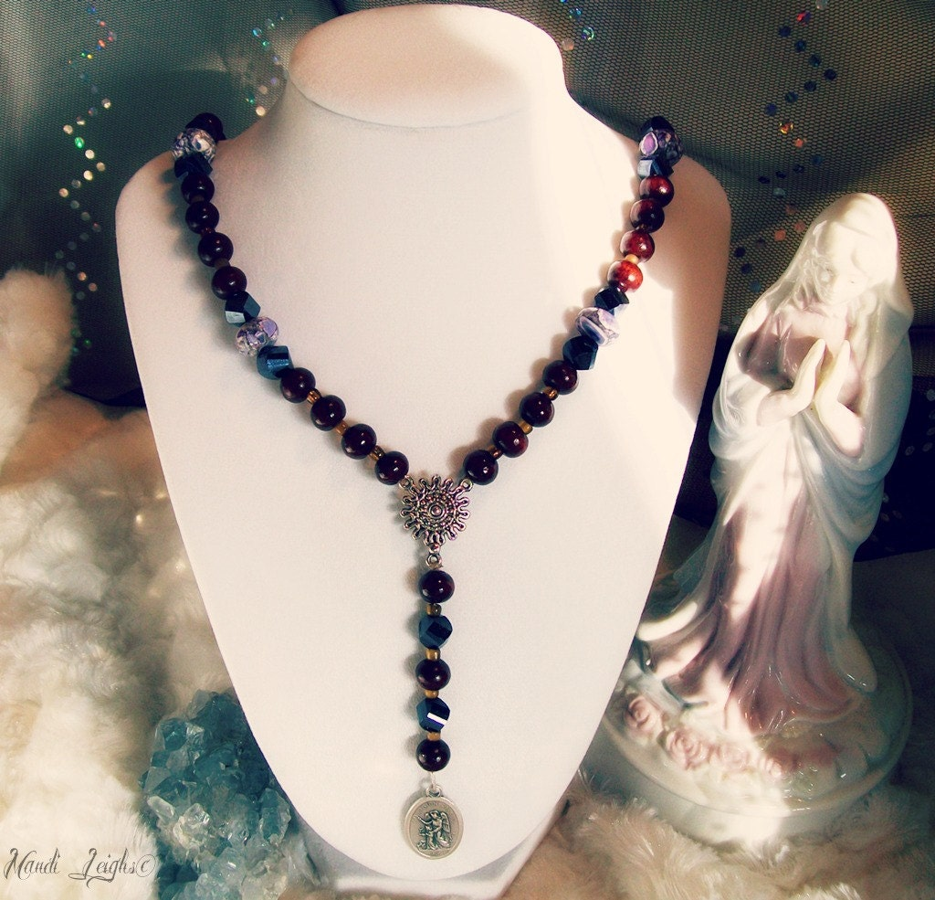 Guardian Angel Rosary Prayer Necklace Sandalwood and Magnesite