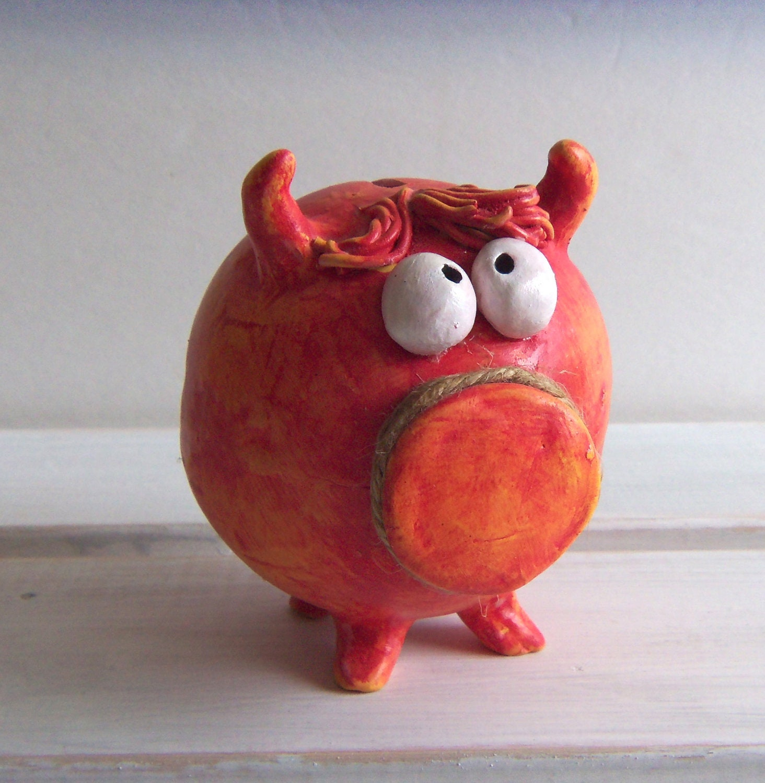 Baby girl handmade ceramic piggy bank red orange by for Handmade coin bank