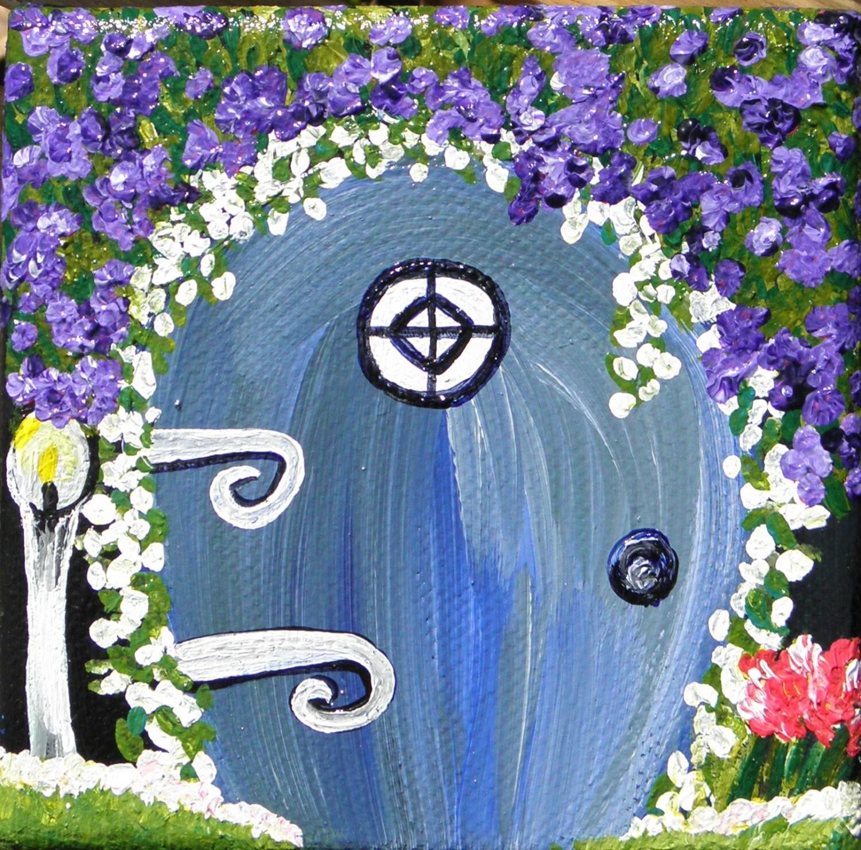 Fantasy art lavender fairy door miniature by stacysartstudio for Painted fairy doors